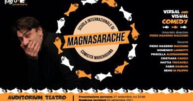 """Iscrizioni aperte per la prima """"Scuola Internazionale di Comicità Marchigiana"""": il 27 settembre Lagrù e Marche Tube presentano """"Magnasarache""""."""